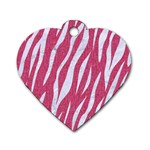 SKIN3 WHITE MARBLE & PINK DENIM Dog Tag Heart (Two Sides) Front