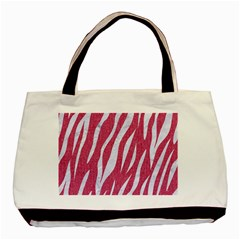 SKIN3 WHITE MARBLE & PINK DENIM Basic Tote Bag (Two Sides)