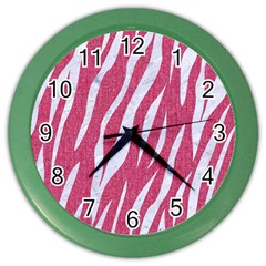 Skin3 White Marble & Pink Denim Color Wall Clocks