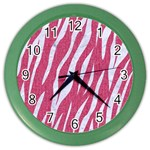SKIN3 WHITE MARBLE & PINK DENIM Color Wall Clocks Front
