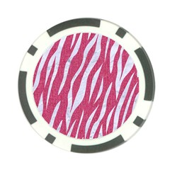 Skin3 White Marble & Pink Denim Poker Chip Card Guard by trendistuff