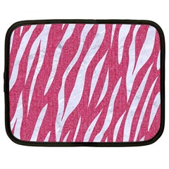 SKIN3 WHITE MARBLE & PINK DENIM Netbook Case (Large)