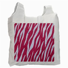 SKIN3 WHITE MARBLE & PINK DENIM Recycle Bag (Two Side)