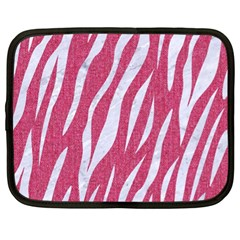 SKIN3 WHITE MARBLE & PINK DENIM Netbook Case (XL)