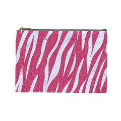 SKIN3 WHITE MARBLE & PINK DENIM Cosmetic Bag (Large)