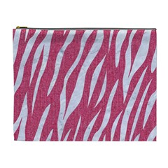 SKIN3 WHITE MARBLE & PINK DENIM Cosmetic Bag (XL)