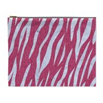 SKIN3 WHITE MARBLE & PINK DENIM Cosmetic Bag (XL) Front