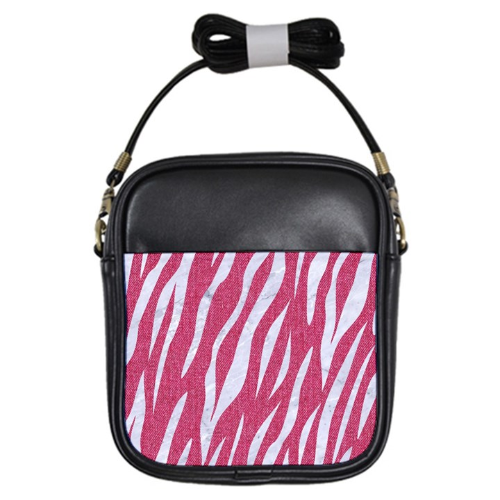 SKIN3 WHITE MARBLE & PINK DENIM Girls Sling Bags