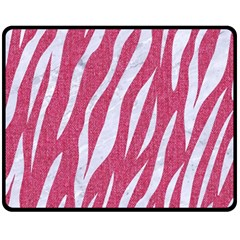 SKIN3 WHITE MARBLE & PINK DENIM Fleece Blanket (Medium)