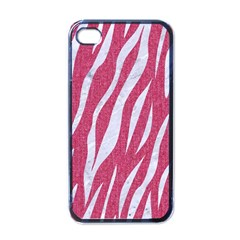 SKIN3 WHITE MARBLE & PINK DENIM Apple iPhone 4 Case (Black)