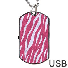 Skin3 White Marble & Pink Denim Dog Tag Usb Flash (one Side)