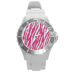 SKIN3 WHITE MARBLE & PINK DENIM Round Plastic Sport Watch (L)