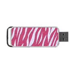 Skin3 White Marble & Pink Denim Portable Usb Flash (one Side)