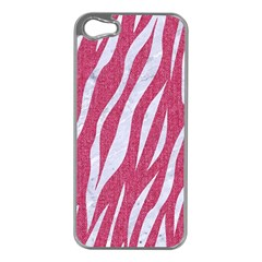 SKIN3 WHITE MARBLE & PINK DENIM Apple iPhone 5 Case (Silver)