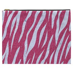 SKIN3 WHITE MARBLE & PINK DENIM Cosmetic Bag (XXXL)