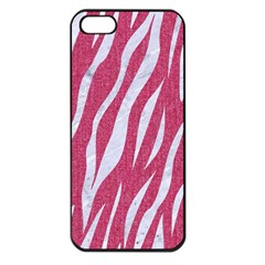 Skin3 White Marble & Pink Denim Apple Iphone 5 Seamless Case (black) by trendistuff