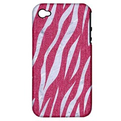 Skin3 White Marble & Pink Denim Apple Iphone 4/4s Hardshell Case (pc+silicone) by trendistuff