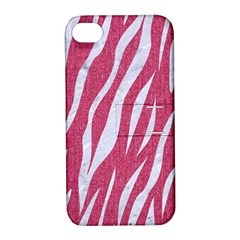 Skin3 White Marble & Pink Denim Apple Iphone 4/4s Hardshell Case With Stand by trendistuff