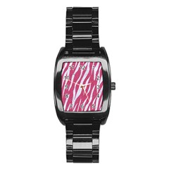 SKIN3 WHITE MARBLE & PINK DENIM Stainless Steel Barrel Watch
