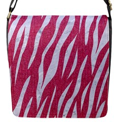 Skin3 White Marble & Pink Denim Flap Messenger Bag (s)