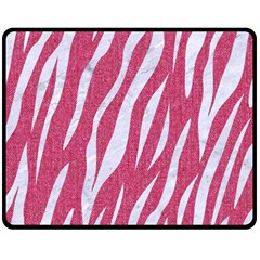 SKIN3 WHITE MARBLE & PINK DENIM Double Sided Fleece Blanket (Medium)