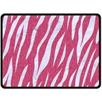 SKIN3 WHITE MARBLE & PINK DENIM Double Sided Fleece Blanket (Large)  80 x60 Blanket Front