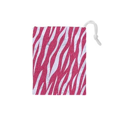 SKIN3 WHITE MARBLE & PINK DENIM Drawstring Pouches (Small)