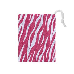 SKIN3 WHITE MARBLE & PINK DENIM Drawstring Pouches (Medium)