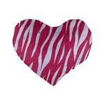 SKIN3 WHITE MARBLE & PINK DENIM Standard 16  Premium Flano Heart Shape Cushions Front