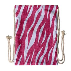 SKIN3 WHITE MARBLE & PINK DENIM Drawstring Bag (Large)
