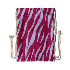 SKIN3 WHITE MARBLE & PINK DENIM Drawstring Bag (Small)