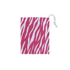 SKIN3 WHITE MARBLE & PINK DENIM Drawstring Pouches (XS)
