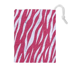 SKIN3 WHITE MARBLE & PINK DENIM Drawstring Pouches (Extra Large)