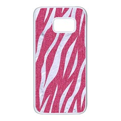 SKIN3 WHITE MARBLE & PINK DENIM Samsung Galaxy S7 White Seamless Case