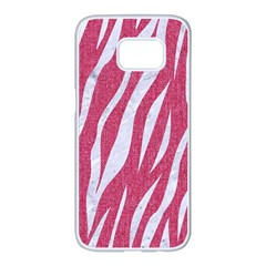 SKIN3 WHITE MARBLE & PINK DENIM Samsung Galaxy S7 edge White Seamless Case
