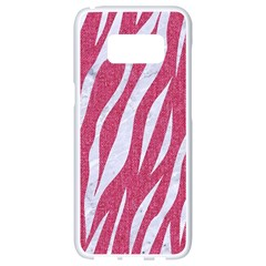 SKIN3 WHITE MARBLE & PINK DENIM Samsung Galaxy S8 White Seamless Case