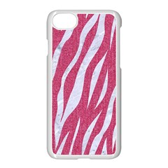 SKIN3 WHITE MARBLE & PINK DENIM Apple iPhone 8 Seamless Case (White)