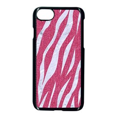 SKIN3 WHITE MARBLE & PINK DENIM Apple iPhone 8 Seamless Case (Black)