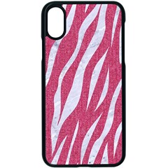 SKIN3 WHITE MARBLE & PINK DENIM Apple iPhone X Seamless Case (Black)
