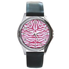 Skin2 White Marble & Pink Denim (r) Round Metal Watch by trendistuff