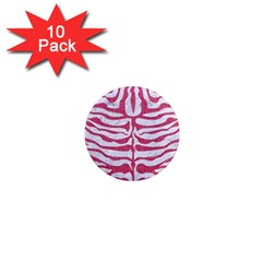 Skin2 White Marble & Pink Denim (r) 1  Mini Magnet (10 Pack)  by trendistuff