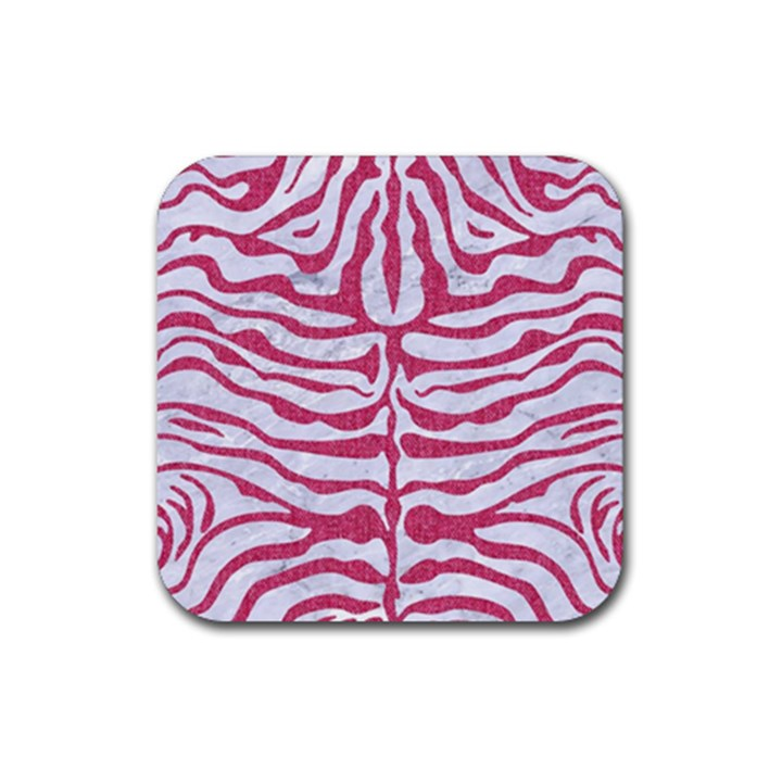 SKIN2 WHITE MARBLE & PINK DENIM (R) Rubber Square Coaster (4 pack)