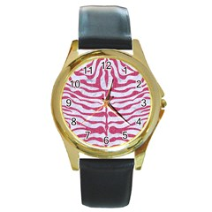 Skin2 White Marble & Pink Denim (r) Round Gold Metal Watch by trendistuff