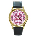 SKIN2 WHITE MARBLE & PINK DENIM (R) Round Gold Metal Watch Front