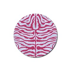 Skin2 White Marble & Pink Denim (r) Rubber Round Coaster (4 Pack)