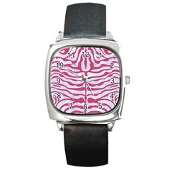 Skin2 White Marble & Pink Denim (r) Square Metal Watch by trendistuff
