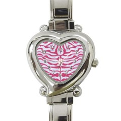 Skin2 White Marble & Pink Denim (r) Heart Italian Charm Watch by trendistuff