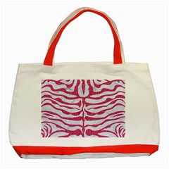Skin2 White Marble & Pink Denim (r) Classic Tote Bag (red)