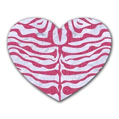 Skin2 White Marble & Pink Denim (r) Heart Mousepads