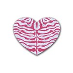 SKIN2 WHITE MARBLE & PINK DENIM (R) Heart Coaster (4 pack)  Front